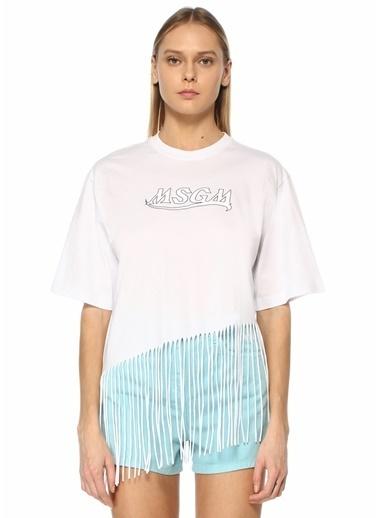 MSGM MSGM  Logo Baskılı Püsküllü T-shirt 101602572 Beyaz